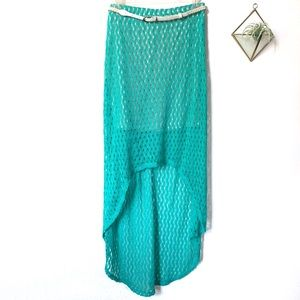Sanctuary Clothing High Low Crochet Belted Skirt